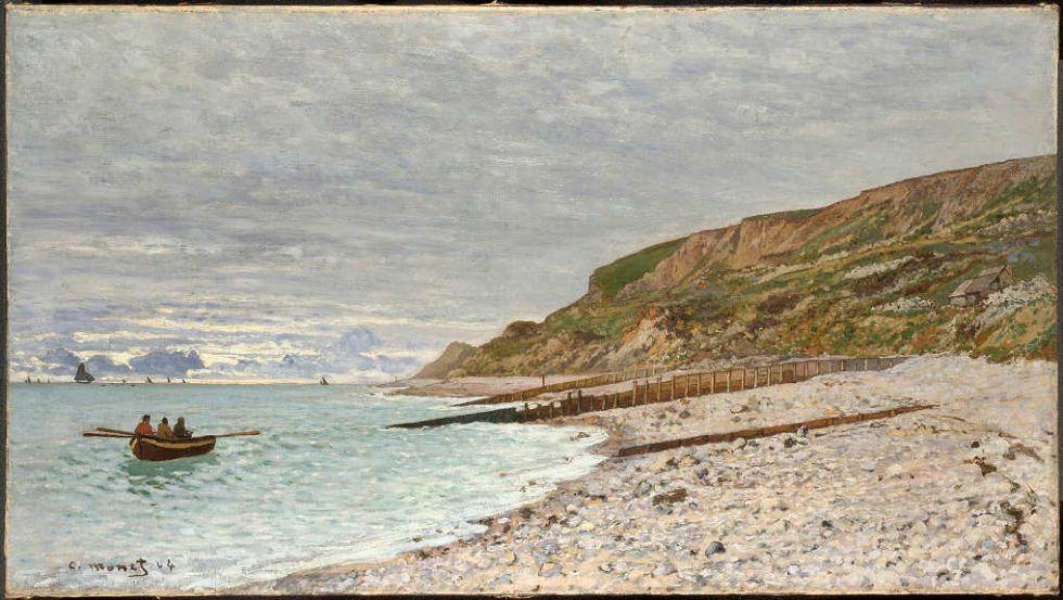 Keilrahmenbild auf Leinwand Spaziergang auf den Klippen von Pourville Monet