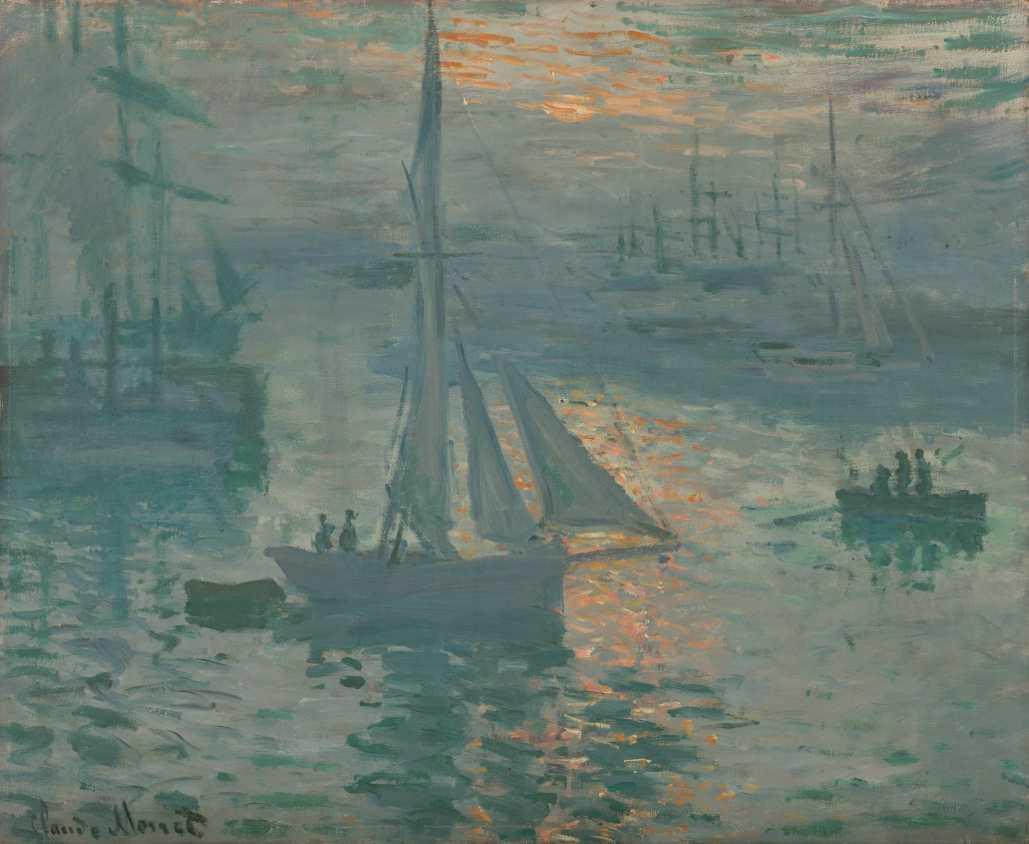 Claude Monet, Sonnenaufgang (Marine), März oder April 1873, Öl auf Leinwand, 50.2 × 61 cm (The J. Paul Getty Museum, Los Angeles)