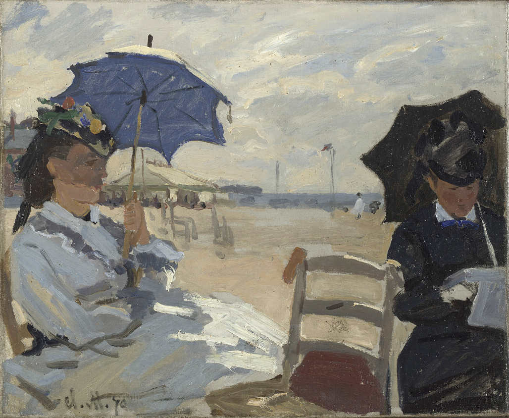 Claude Monet, Strand in Trouville, 1870, Öl/Lw, 38 x 46 cm (The National Gallery, London, Courtauld Fund, 1924)