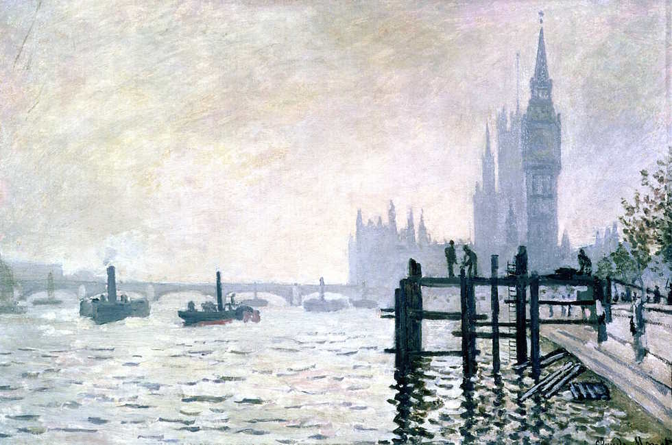 Claude Monet, Themse bei Westminster, 1871, Öl auf Leinwand, 47 x 73 cm (London, The National Gallery)