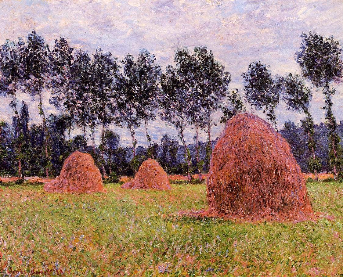 Claude Monet, Getreideschober in Giverny, bedeckter Himmel, 1884 (Privatsammlung)