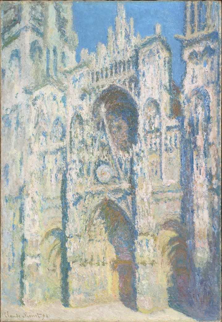 Claude Monet, La Cathédrale de Rouen. Le portail et la tour Saint-Romain, plein soleil; harmonie bleue et or [Die Kathedrale von Rouen], 1892/93, Öl auf Leinwand, 107 × 73 cm (Musée d'Orsay, Paris)