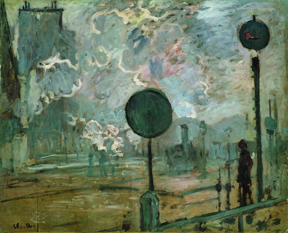 Claude Monet, La gare Saint-Lazare à l'extérieur (le signal), 1877, Öl auf Leinwand, 65 x 81,5 cm, Niedersächsisches Landesmuseum, Hanovre © Niedersächsisches Landesmuseum, Hannover.