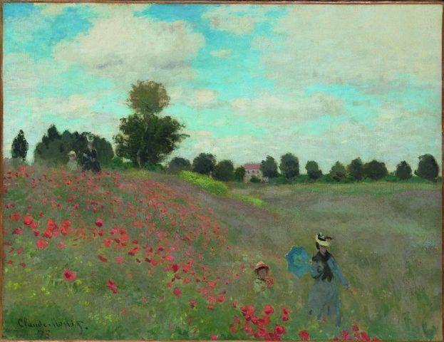 Claude Monet, Mohnblumen in Argenteuil, 1873, Öl auf Leinwand, 50 x 65,3 cm, Musée d'Orsay, Paris © service presse Rmn / Hervé Lewandowski.