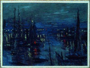 Claude Monet, Le Port du Havre, effet de nuit, 1873, Öl auf Leinwand, 60 x 81 cm, Collection particulière © droits réservés.