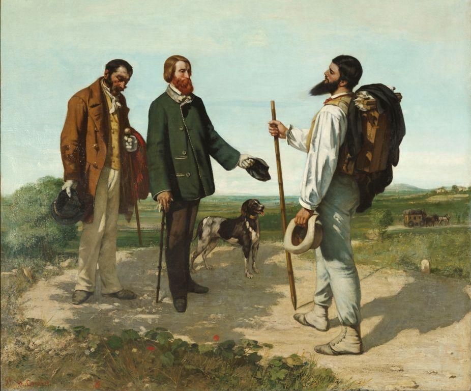 Gustave Courbet, La Rencontre ou Bonjour, Monsieur Courbet (Die Begegnung oder Bonjour, Monsieur Courbet), 1854, Öl auf Leinwand, 132 x 150 cm © Musée Fabre de Montpellier Agglomération, Fotografie: bpk / RMN.
