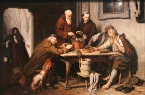 Josef Danhauser, Die Klostersuppe, 1838, Öl auf Holz, 85,5 × 130 cm, Bez. am Rand der Tischplatte: PEPI DANHAUSER px 18.. (Belvedere, Wien, Inv.-Nr. 2088)