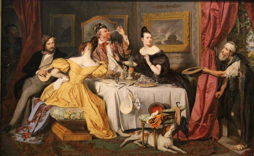 Josef Danhauser, Der reiche Prasser, 1836, Öl auf Leinwand, 84 × 131 cm, Bez. u. r. (am Türpfosten): Danhauser Wien 1836 (Belvedere, Wien, Inv.-Nr. 2087)