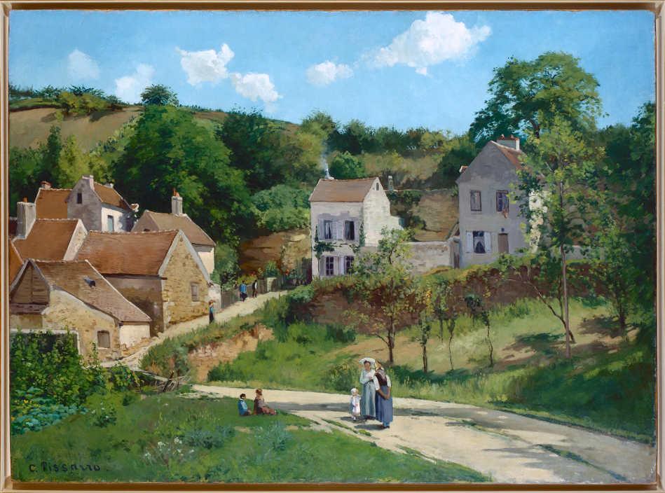 Camille Pissarro, Die Eremitage in Pontoise (Les côteaux de l'Hermitage, Pontoise), 1867, Öl auf Leinwand, 151.4 x 200.6 cm (Solomon R. Guggenheim Museum, Thanhauser Collection)