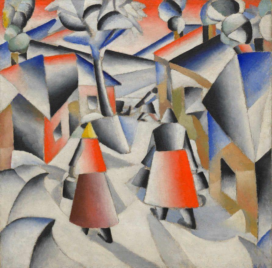 Kasimir Malewitsch, Morgen im Dorf nach einem Schneesturm, 1912, Öl auf Leinwand, 80 x 80 cm (Solomon R. Guggenheim Museum, New York)