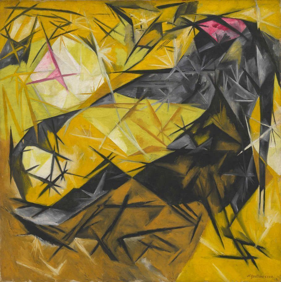 Natalia Gontscharowa, Katzen (rayonistische Wahrnehmung in Rosa, Schwarz und Gelb), 1913, Öl auf Leinwand, 85.1 x 85.7 cm (Solomon R. Guggenheim Museum, New York)