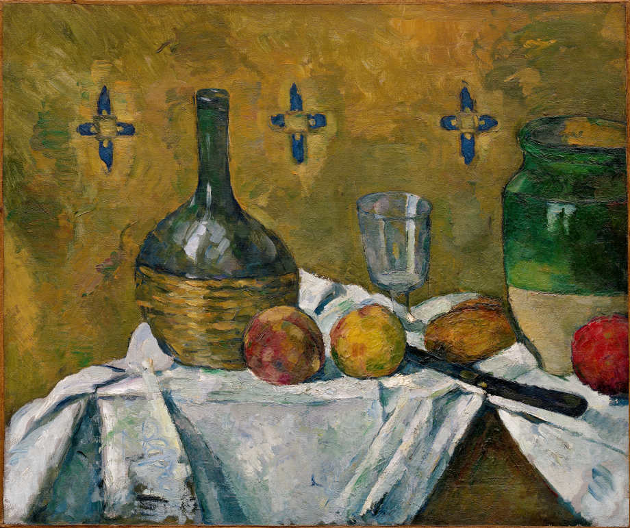 Paul Cézanne, Stillleben Flasche, Glas und Krug (Fiasque, verre et poterie), um 1877, Öl auf Leinwand, 45.7 x 55.3 cm (Solomon R. Guggenheim Museum, New York, Thanhauser Collection, Gift, Justin K. Thannhauser, 1978)