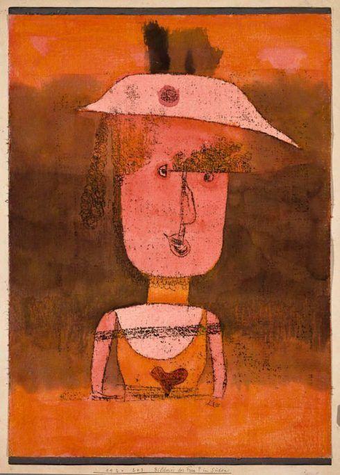 Paul Klee (Münchenbuchsee 1879–Muralto-Locarno 1940), Bildnis der Frau P. im Süden, 1924, Aquarell und Öltransferzeichnung auf Papier auf Holzplatte, 42.5 x 31 cm (Venedig, Peggy Guggenheim Collection, 76.2553)