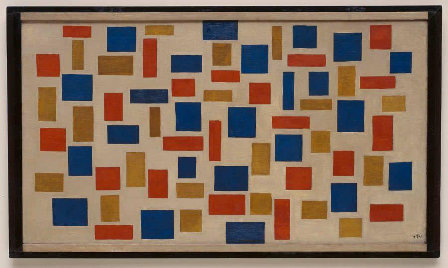 Theo van Doesburg (Utrecht 1883–Davos 1931), Komposition XI, 1918, Öl auf Leinwand, originaler Rahmen, 64.6 x 109 cm (gerahmt: 73.2 x 117.8 cm) (New York, Solomon R. Guggenheim Museum, Inv.-Nr. 54.1360)