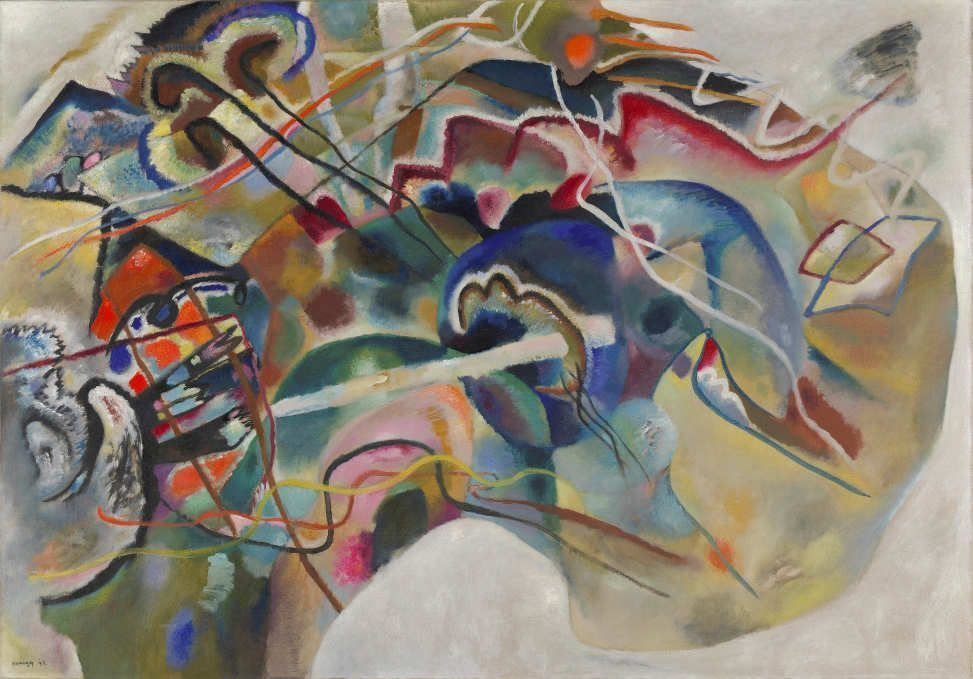 Wassily Kandinsky, Bild mit weißem Rand, Mai 1913, Öl auf Leinwand, 140.3 x 200.3 cm (Solomon R. Guggenheim Museum, New York, Solomon R. Guggenheim Founding Collection, By gift)