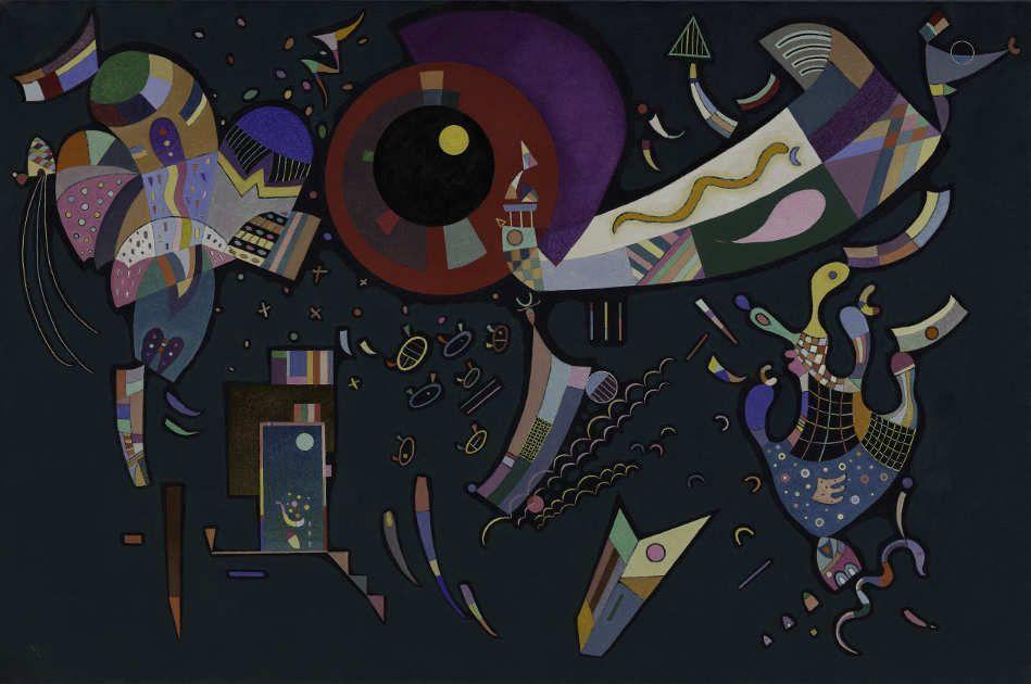 Wassily Kandinsky, Autour du cercle, 1940, Mischtechnik auf Leinwand, 96,8 x 146 cm (Solomon R. Guggenheim Museum, New York, Solomon R. Guggenheim Founding Collection)