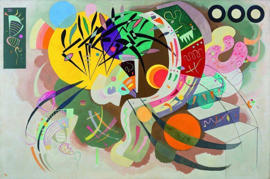 Wassily Kandinsky (Moskau 1866–Neuilly-sur-Seine 1944), Dominant Curve (Courbe dominante), April 1936, Öl auf Leinwand, 129.2 x 194.3 cm (New York, Solomon R. Guggenheim Museum. Solomon R. Guggenheim Founding Collection, Inv.-Nr. 45.989)