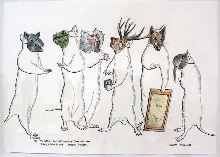 Deborah Sengl, Die letzten Tage der Menschheit, V. Akt / 6. Szene (1. Teil): 6 tierische Gestalten, 2013 © Deborah Sengl, Foto: Alexandra Matzner.