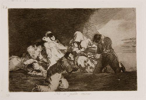 Francisco de Goya, Desastres de la Guerra, Blatt 26: Man kann es nicht ansehen (1810–1815), Kaltnadelradierung, 14,5 x 21 cm, Morat-Institut für Kunst und Kunstwissenschaft Freiburg.
