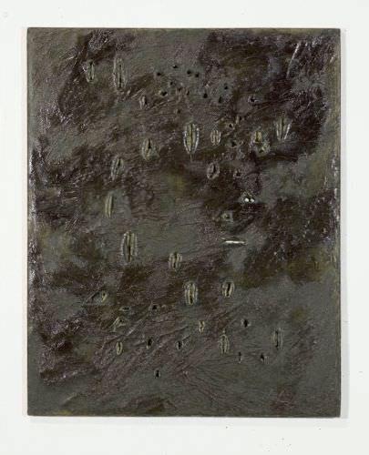 Lucio Fontana, Concetto spaziale, 1960, Öl auf Leinwand, 80,5 x 65 cm, Kunstsammlungen der Ruhr-Universität Bochum, Sammlung Modern.