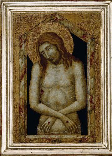 Pietro Lorenzetti, Christus als Schmerzensmann (um 1340), Tempera auf Holz, 35,3 x 26 cm, Lindenau-Museum Altenburg.