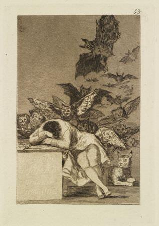Francisco de Goya, Der Schlaf der Vernunft gebiert Ungeheuer (Serie: Los Caprichos, Blatt 43), 1797/98, Radierung und Aquatinta, 23,8 x 32,5 cm (Blatt), Staatliche Kunsthalle Karlsruhe, Foto: SKK