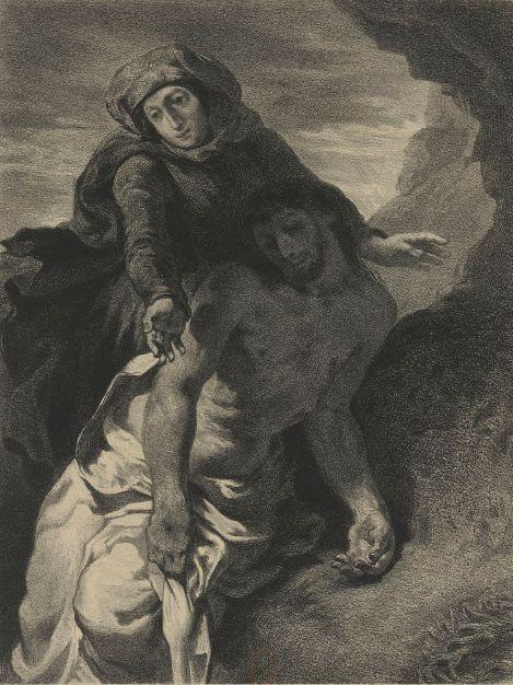 Célestin-François Nanteuil, Pietà (nach Delacroix), 1853, Lithographie, erschienen in Artistes anciens et modernes, Paris, Bibliothèque Nationale © Cliché Bibliothèque nationale de France