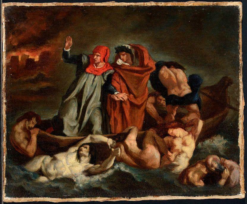 Edouard Manet, Die Dante-Barke (nach Delacroix), um 1854, Öl/Lw, 37.5 x 45 cm (Musée des Beaux Arts de Lyon (B830) © Lyon MBA - photo Alain Basset)
