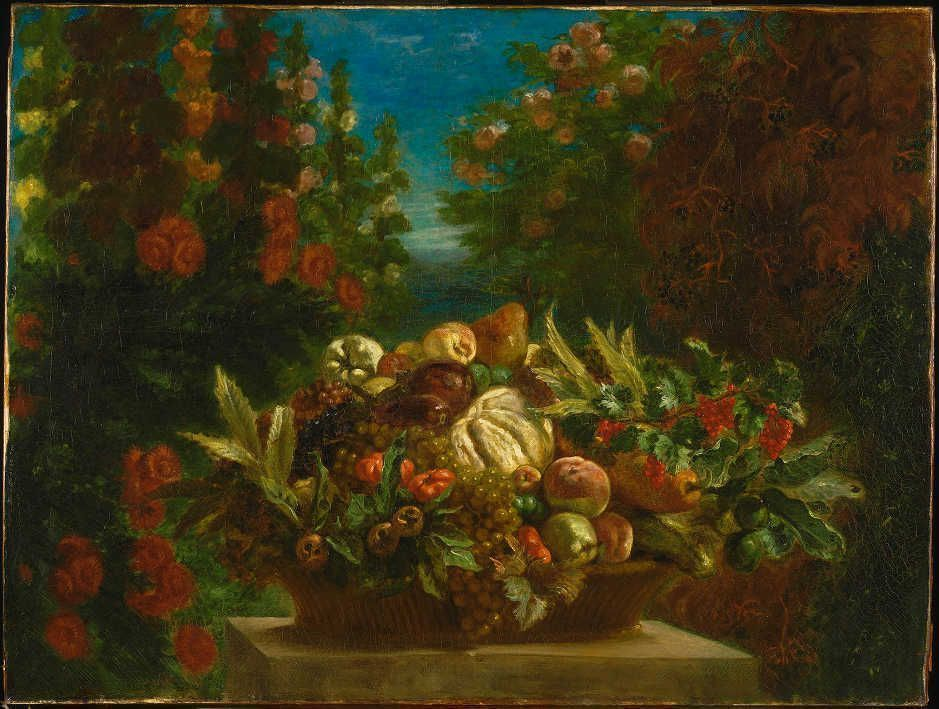 Eugène Delacroix, Ein Blumenkorb in einem Blumengarten, 1848/49, Öl/Lw, 106.7 x 142.2 cm (© Philadelphia Museum of Art, Pennsylvania, John G. Johnson Collection, 1917 (1917,974)