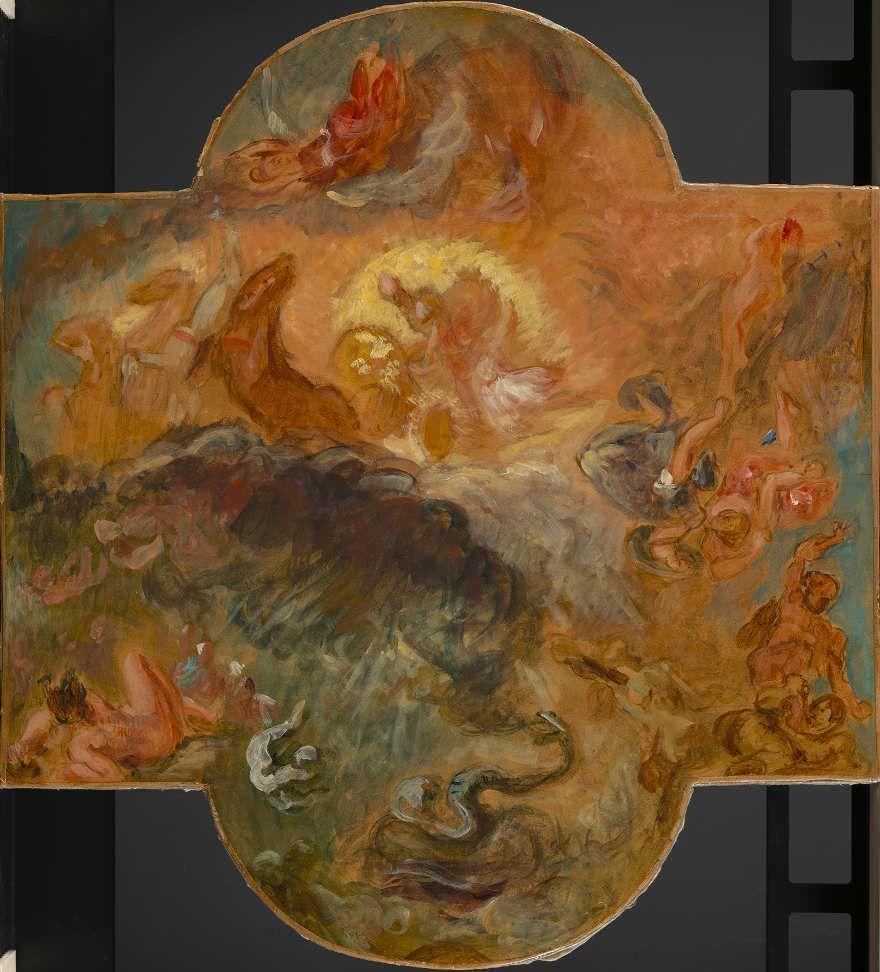 Eugène Delacroix, Apollo erschlägt die Python, Skizze, um 1850, Öl auf Papier auf Leinwand, 66 x 60.2 cm (Van Gogh Museum, Amsterdam (purchased with support from the BankGiro Lottery) (s526 S2012) © Van Gogh Museum, Amsterdam)