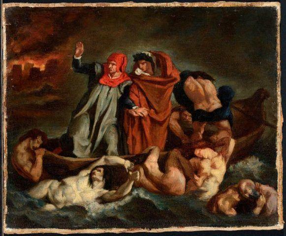 Edouard Manet, Die Dante-Barke / The Barque of Dante (nach / after Delacroix), um / about 1854, Öl auf Leinwand / Oil on canvas, 37.5 x 45 cm, Musée des Beaux Arts de Lyon (B830) © Lyon MBA - photo Alain Basset.