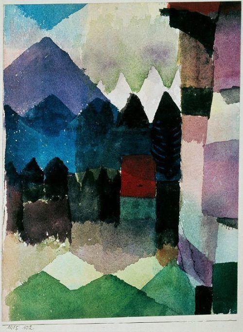Paul Klee, Föhn im Marc`schen Garten, 1915, Aquarell, auf Karton aufgeklebt, Städtische Galerie im Lenbachhaus und Kunstbau München.