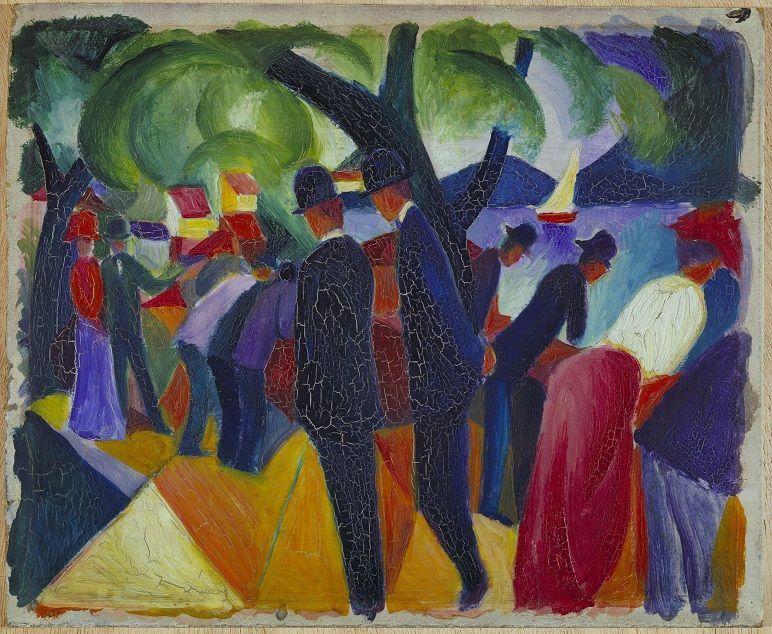 August Macke, Spaziergang auf der Brücke, 1913, Städtische Galerie im Lenbachhaus und Kunstbau München.