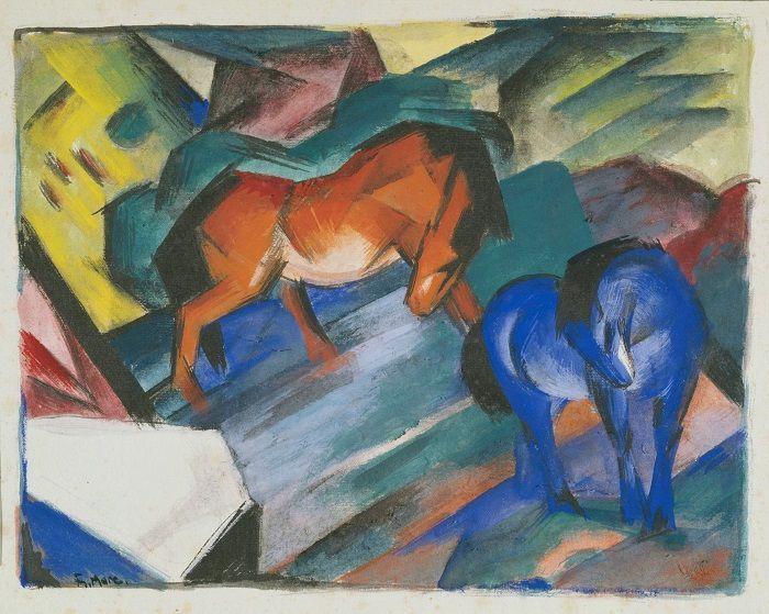 Franz Marc, Rotes und blaues Pferd, 1912, Tempera, Städtische Galerie im Lenbachhaus und Kunstbau München.