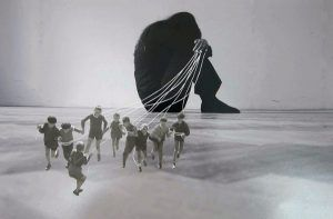 "Eva Koťátková, ""NOT HOW PEOPLE MOVE, BUT WHAT MOVES THEM"", 2013, Collage, SW-Fotografie © 2013 hunt kastner, Prag."