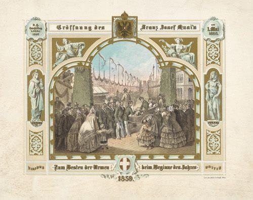 Josef Haßlwander, Neujahrskarte mit der Eröffnung des Franz-Josefs-Kais, 1858 © Wien Museum.