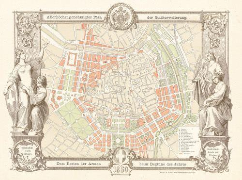 Neujahrskarte der k. k Hof- und Staatsdruckerei mit dem Grundplan der Stadterweiterung von 1859 © Wien Museum.