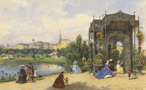 Franz Alt, Beim Eisernen Pavillon im Stadtpark, 1866 © Wien Museum.