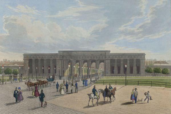 Anonym, Äußeres Burgtor vom Heldenplatz aus gesehen vor dem Bau der Ringstraße, vor 1850, Österreichische Nationalbibliothek.
