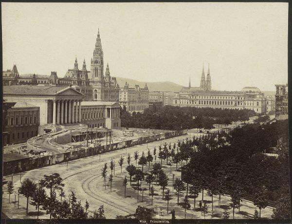 Anonym, Blick auf das Parlament, um 1882, Österreichische Nationalbibliothek.