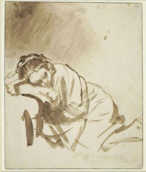 Rembrandt, Eine schlafende, junge Frau (Hendrickje Stoffels), about 1654, Brush and brown wash, with white bodycolour; ruled framing lines in pen and brown ink, 24.6 x 20.3 cm, The British Museum, London, 1895,0915.1279 © The Trustees of The British Museum.