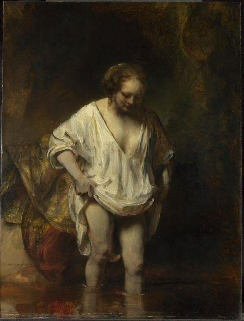 Rembrandt, Badende Frau, 1654, Öl auf Holz, 61,8 x 47 cm, The National Gallery, London.