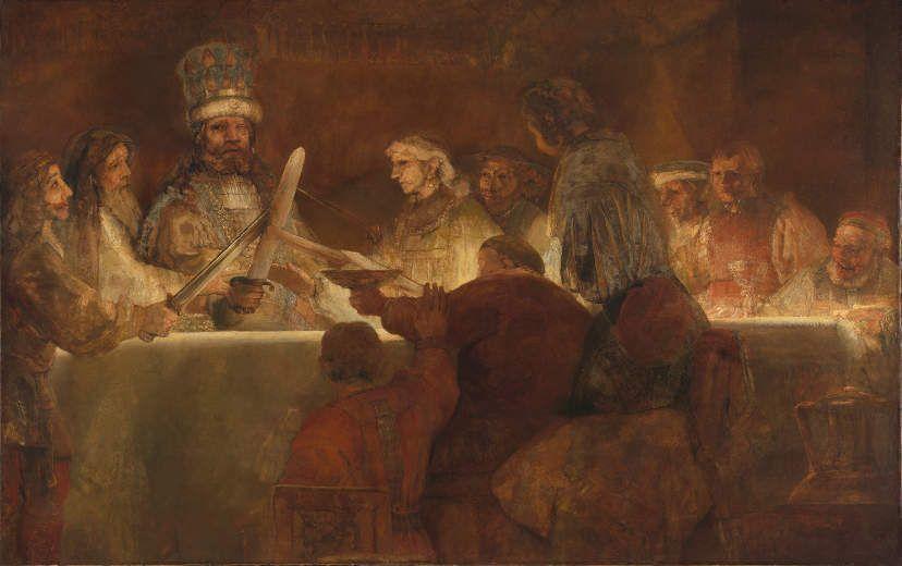 Rembrandt, Die Verschwörung des Claudius Civilis, um 1661/62, Öl auf Leinwand, 196 x 309 cm, Königliche Schwedische Akademie der Schönen Künste.