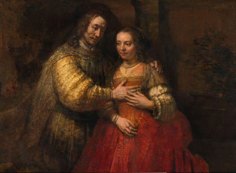 Rembrandt, Die jüdische Braut [Porträt eines Paares als Isaac und Rebecca], um 1665, Öl auf Leinwand, 121.5 x 166.5 cm, Rijksmuseum, on loan from the City of Amsterdam (A. van der Hoop Bequest) © Rijksmuseum, Amsterdam (SK-C-216).