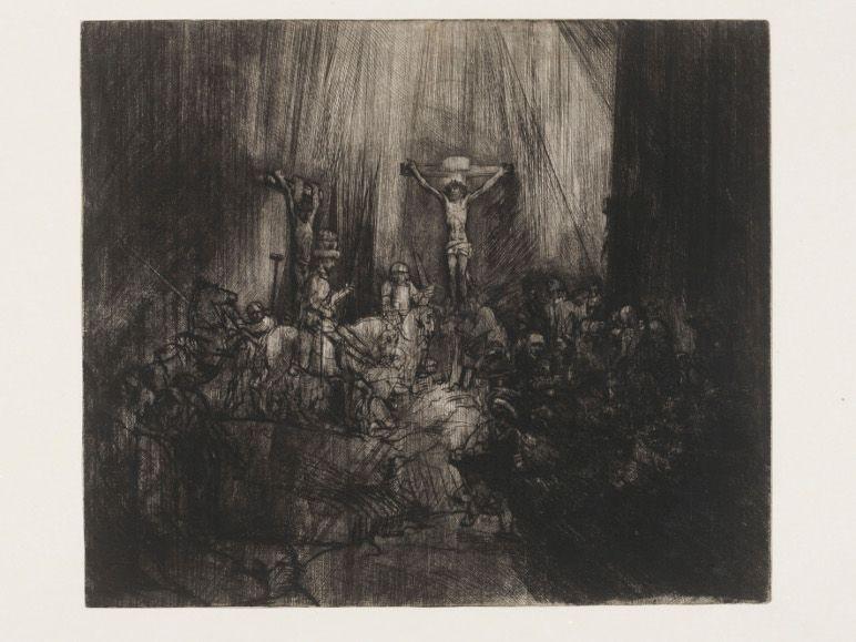 Rembrandt, Die drei Kreuze, 1653, Kaltnadel, 38,5 x 45 cm © Victoria and Albert Museum, London (CAI.637).