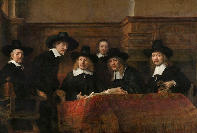 Rembrandt, Die Staalmeesters [Die Vorsteher der Amsterdamer Tuchmacherzunft], 1662, Öl auf Leinwand, 191.5 x 279 cm (Rijksmuseum, on loan from the City of Amsterdam © Rijksmuseum, Amsterdam, SK-C-6)