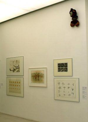 """Schellander, Bertlmann, Jürgenssen, Pakosta, Christanell (links nach rechts), Beschorner (oben), Ausstellungsansicht """"Die 70er Jahre"""" im MUSA 2013, Foto: Alexandra Matzner."""