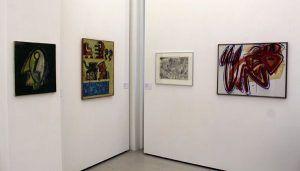 """Anzinger, Moosbacher, Wukounig, Messensee, Ausstellungsansicht """"Die 70er Jahre"""" im MUSA 2013, Foto: Alexandra Matzner."""