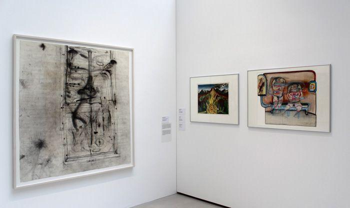 """Martha Jungwirth, Peter Pongratz, Franz Ringel, Ausstellungsansicht """"Die 70er Jahre"""" im MUSA 2013, Foto: Alexandra Matzner."""