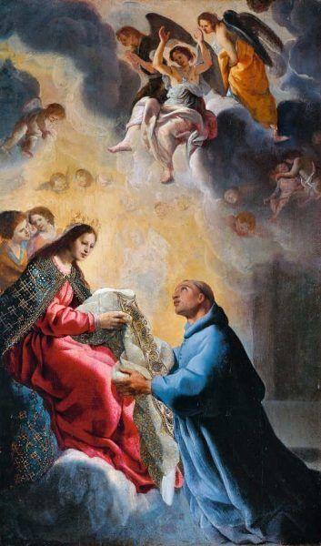 Eugenio Cajés (oder Caxes) (1574–1634), Die Jungfrau Maria überreicht dem heiligen Ildefons sein Messgewand, um 1615, Öl auf Holz, 82,5 × 49 cm (Musée des Beaux-Arts de Bordeaux, Inv.-Nr. Bx E 504)
